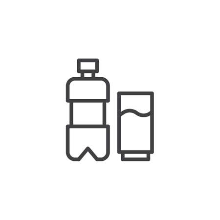 Water bottle and glass outline icon. linear style sign for mobile concept and web design. Drink simple line vector icon. Symbol, logo illustration. Pixel perfect vector graphics