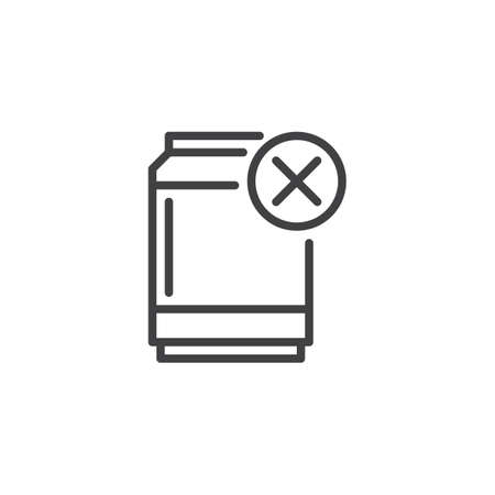 No sweet drinks outline icon. linear style sign for mobile concept and web design. Tin can remove simple line vector icon. Symbol, logo illustration. Pixel perfect vector graphics Ilustração