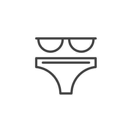 Bikini swimsuit outline icon. linear style sign for mobile concept and web design. Bikini suit simple line vector icon. Symbol, logo illustration. Pixel perfect vector graphics