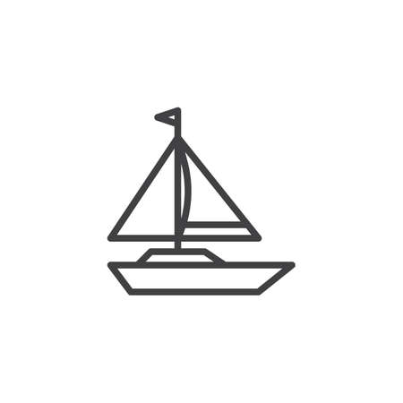Sailboat outline icon. linear style sign for mobile concept and web design. Sailing boat simple line vector icon. Yacht symbol, logo illustration. Pixel perfect vector graphics
