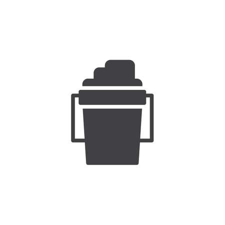 Childrens bucket with sand vector icon. filled flat sign for mobile concept and web design. Sandpit kit simple solid icon. Symbol, logo illustration. Pixel perfect vector graphics