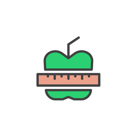 Apple and measuring tape filled outline icon, line vector sign, linear colorful pictogram isolated on white. Fitness diet symbol, logo illustration. Pixel perfect vector graphics Illustration