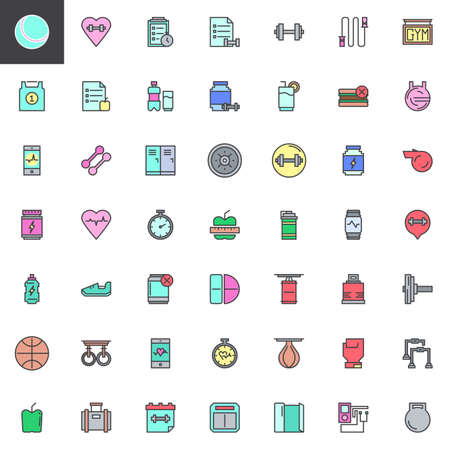 Fitness equipment filled outline icons set, line vector symbol collection, linear colorful pictogram pack. Signs, logo illustration, Set includes icons as Planning, Proteins Drink, Dumbbell, Lockers