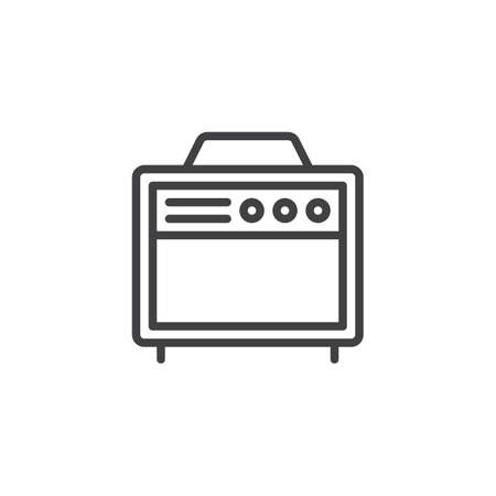Amplifier outline icon. linear style sign for mobile concept and web design. Guitar music amplifier simple line vector icon. Symbol, logo illustration. Pixel perfect vector graphics
