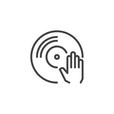 Vinyl player outline icon. linear style sign for mobile concept and web design. Turntable simple line vector icon. DJ music symbol, logo illustration. Pixel perfect vector graphics