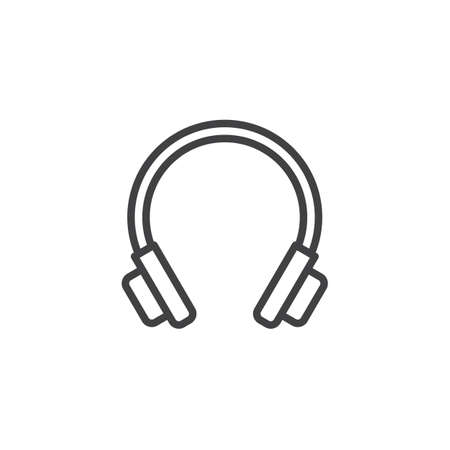 Headphones outline icon. linear style sign for mobile concept and web design. DJ headset line vector icon. Symbol, logo illustration. Pixel perfect vector graphics Illustration