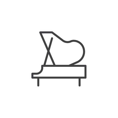 Piano outline icon. linear style sign for mobile concept and web design. Grand piano simple line vector icon. Symbol, logo illustration. Pixel perfect vector graphics