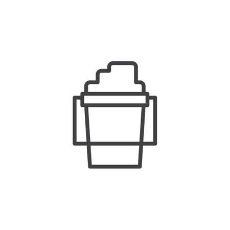 Childrens bucket with sand outline icon. linear style sign for mobile concept and web design. Sandpit kit simple line vector icon. Symbol, logo illustration. Pixel perfect vector graphics