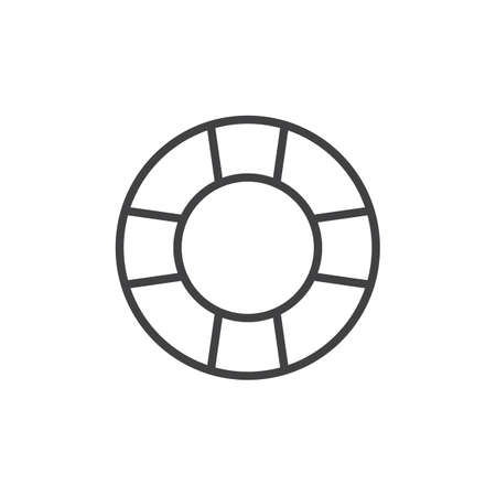 Lifebuoy outline icon. linear style sign for mobile concept and web design. Lifesaver simple line vector icon. Help Symbol, logo illustration. Pixel perfect vector graphics Illustration