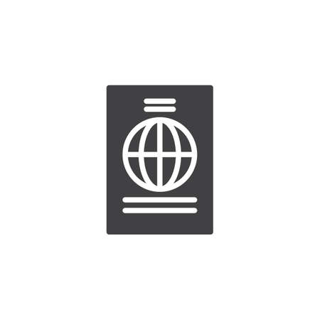 Passport Document vector icon. filled flat sign for mobile concept and web design. International Passport simple solid icon. Symbol, logo illustration. Pixel perfect vector graphics