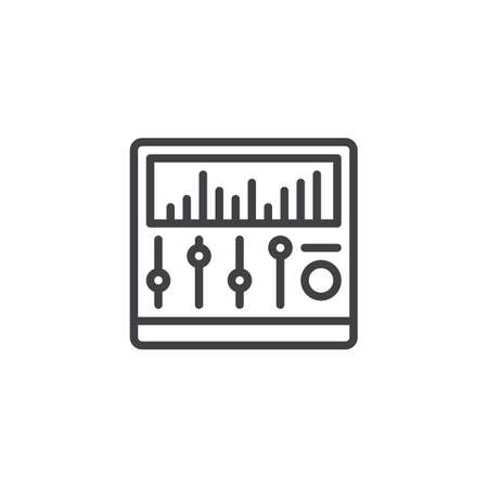 Sound mixer outline icon. linear style sign for mobile concept and web design. mixing console with music equalizer simple line vector icon. Symbol, logo illustration. Pixel perfect vector graphics 일러스트