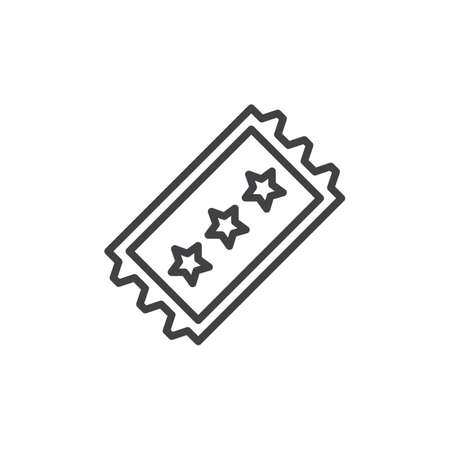 Concert ticket outline icon. linear style sign for mobile concept and web design. Ticket with stars simple line vector icon. Symbol, logo illustration. Pixel perfect vector graphics