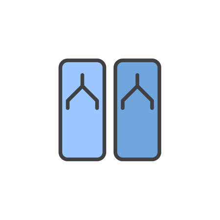 Flip flops filled outline icon, line vector sign, linear colorful pictogram isolated on white. Slippers symbol, logo illustration. Pixel perfect vector graphics