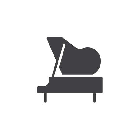 Icône de vecteur de piano. signe plat rempli pour le concept mobile et la conception web. Icône solide simple de piano à queue. Symbole, illustration du logo. Graphiques vectoriels parfaits pixel