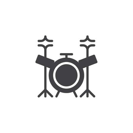 Drum kit vector icon. filled flat sign for mobile concept and web design. Music drum set solid icon. Symbol, logo illustration. Pixel perfect vector graphics
