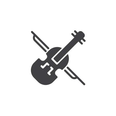 Icône de vecteur de violon. signe plat rempli pour le concept mobile et la conception web. Icône solide d'instrument de musique classique. Symbole, illustration du logo. Graphiques vectoriels parfaits pixel