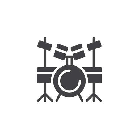 Drum set vector icon. filled flat sign for mobile concept and web design. drum kit simple solid icon. Symbol, logo illustration. Pixel perfect vector graphics