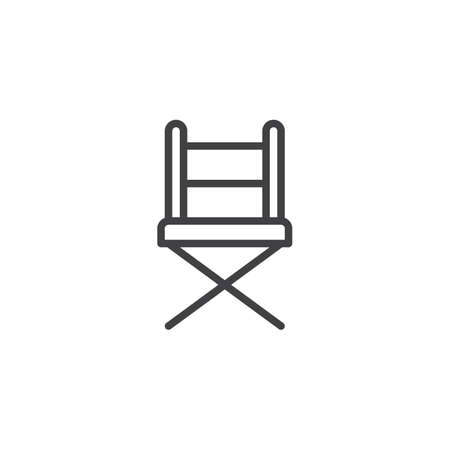 Camp chair outline icon. linear style sign for mobile concept and web design. Folding chair simple line vector icon. Symbol, logo illustration. Pixel perfect vector graphics Vectores
