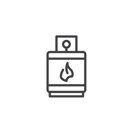 Gas lighters filling balloon outline icon. linear style sign for mobile concept and web design. Gas burner simple line vector icon. Symbol, logo illustration. Pixel perfect vector graphics Ilustração