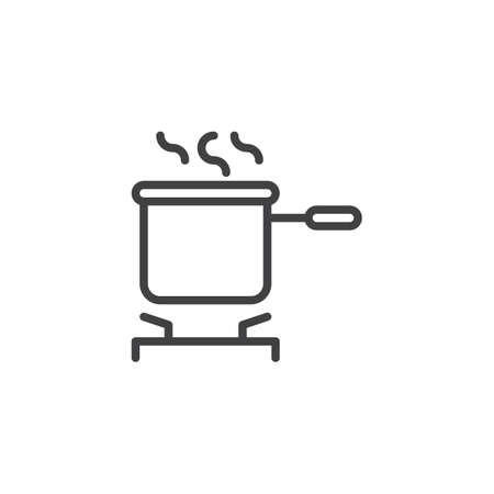 Cooking pot on stove outline icon. linear style sign for mobile concept and web design. Saucepan on the stove simple line vector icon. Symbol, logo illustration. Pixel perfect vector graphics