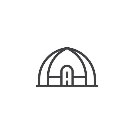 Hiking and camping tent outline icon. linear style sign for mobile concept and web design. Tourist tent simple line vector icon. Shelter symbol, logo illustration. Pixel perfect vector graphics