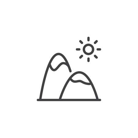 Mountain landscape outline icon. linear style sign for mobile concept and web design. Mountain peaks and sun simple line vector icon. Symbol, logo illustration. Pixel perfect vector graphics