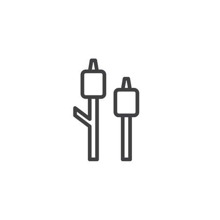 Marshmallow on a stick outline icon. linear style sign for mobile concept and web design. Roasted marshmallow simple line vector icon. Symbol, logo illustration. Pixel perfect vector graphics