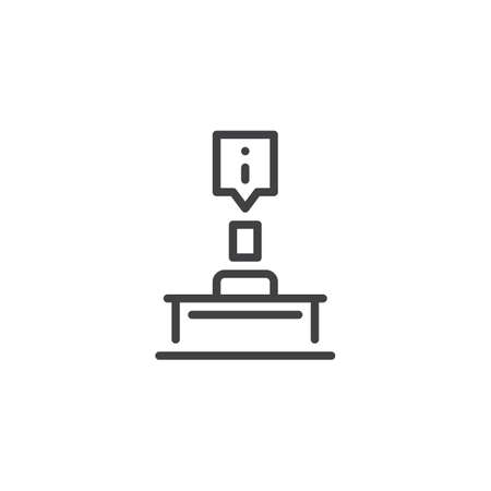 Reception service outline icon. linear style sign for mobile concept and web design. Hotel desk simple line vector icon. Symbol, logo illustration. Pixel perfect vector graphics Ilustra��o