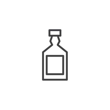 Whiskey bottle outline icon. linear style sign for mobile concept and web design. simple line vector icon. Symbol, logo illustration. Pixel perfect vector graphics 免版税图像 - 102725934
