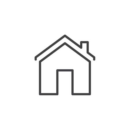 House with chimney outline icon. linear style sign for mobile concept and web design. Home simple line vector icon. Home page symbol, logo illustration. Pixel perfect vector graphics