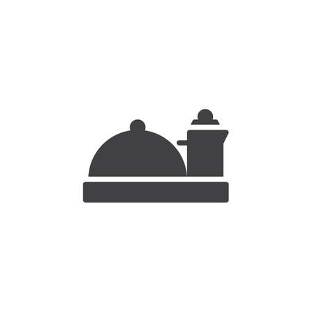 Hotel food service vector icon. filled flat sign for mobile concept and web design. Food tray simple solid icon. Symbol, logo illustration. Pixel perfect vector graphics