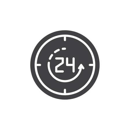 Vierentwintig uur open vector pictogram. gevuld plat bord voor mobiel concept en webdesign. 24 uur service solide pictogram. Symbool, logo illustratie. Pixel perfecte vectorafbeeldingen