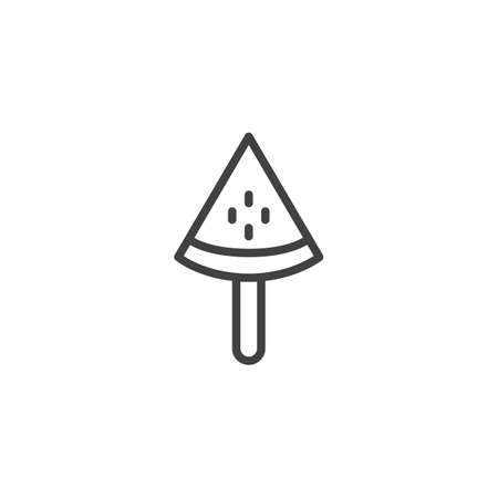 Watermelon ice cream outline icon. linear style sign for mobile concept and web design. Popsicle simple line vector icon. Symbol, logo illustration. Pixel perfect vector graphics
