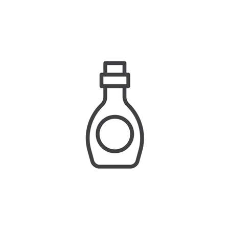 Syrup bottle for ice cream outline icon. linear style sign for mobile concept and web design. Sweet dessert  simple line vector icon. Symbol, logo illustration. Pixel perfect vector graphics