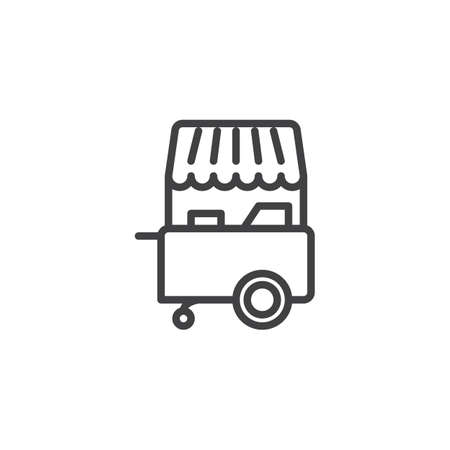 Ice cream stall shop outline icon. linear style sign for mobile concept and web design. Fast food street cart simple line vector icon. Symbol, logo illustration. Pixel perfect vector graphics Иллюстрация
