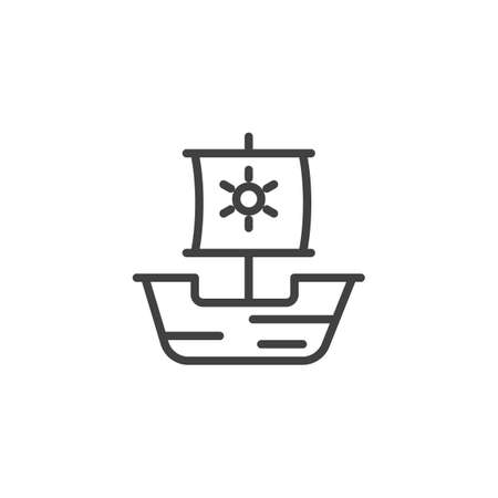 Caravel ship outline icon. linear style sign for mobile concept and web design. Drakkar viking, junk simple line vector icon. Symbol, logo illustration. Pixel perfect vector graphics Vettoriali