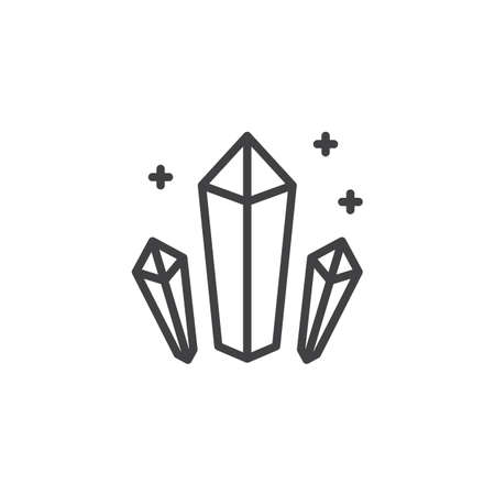 Shining Crystals outline icon. linear style sign for mobile concept and web design. Minerals simple line vector icon. Symbol, logo illustration. Pixel perfect vector graphics Illustration