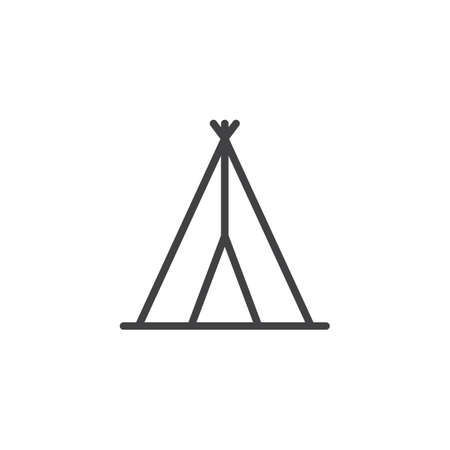 Indian tepee outline icon. linear style sign for mobile concept and web design. Wigwam simple line vector icon. Symbol, logo illustration. Pixel perfect vector graphics