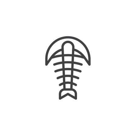 Arthropod fossil outline icon. linear style sign for mobile concept and web design. Trilobite paleozoic era simple line vector icon. Symbol, logo illustration. Pixel perfect vector graphics