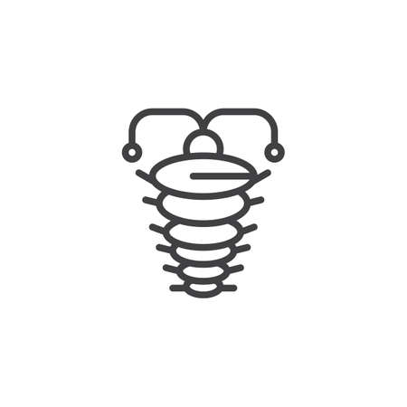 Arthropod outline icon. linear style sign for mobile concept and web design. Ancient trilobite simple line vector icon. Symbol, logo illustration. Pixel perfect vector graphics