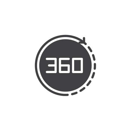 Angle 360 degrees vector icon. filled flat sign for mobile concept and web design. Full rotation simple solid icon. Symbol, logo illustration. Pixel perfect vector graphics