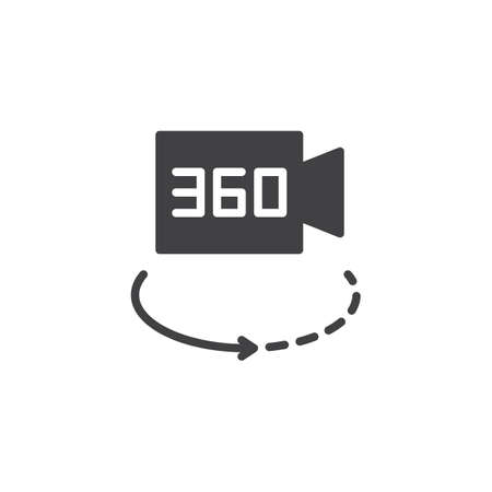 360 degrees video camera vector icon. filled flat sign for mobile concept and web design. camera switch simple solid icon. Symbol, logo illustration. Pixel perfect vector graphics