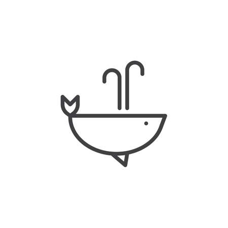 Whale with water fountain blow outline icon. linear style sign for mobile concept and web design. Humpback whale simple line vector icon. Symbol, logo illustration. Pixel perfect vector graphics
