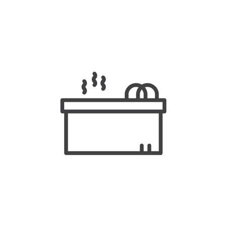 Hot jacuzzi tub outline icon. linear style sign for mobile concept and web design. Jacuzzi spa simple line vector icon. Symbol, logo illustration. Pixel perfect vector graphics