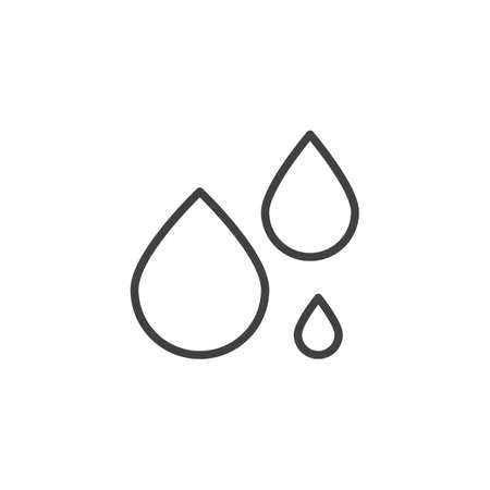Water drops outline icon. linear style sign for mobile concept and web design. liquid droplet simple line vector icon. Symbol, logo illustration. Pixel perfect vector graphics Ilustração