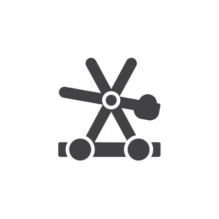 Medieval wooden catapult vector icon. filled flat sign for mobile concept and web design. Catapult shooting stones simple solid icon. Symbol, logo illustration. Pixel perfect vector graphics