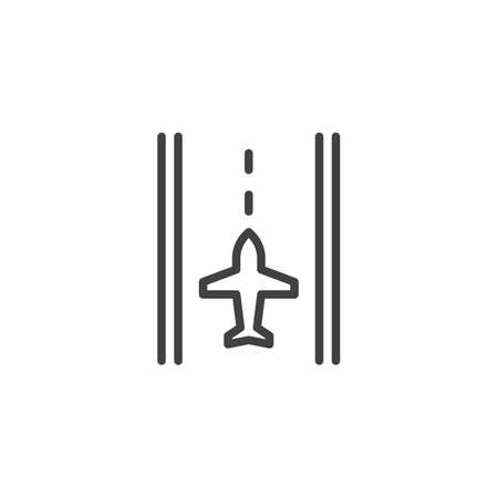 Airport runway outline icon. linear style sign for mobile concept and web design. Runway and airplane simple line vector icon. Symbol, logo illustration. Pixel perfect vector graphics