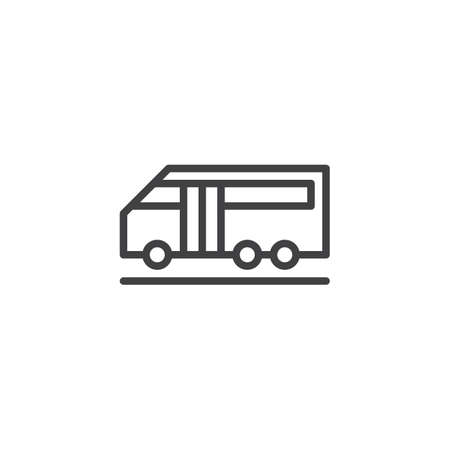 Airport bus outline icon. linear style sign for mobile concept and web design. simple line vector icon. Symbol, logo illustration. Pixel perfect vector graphics