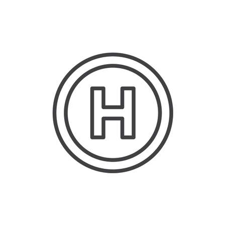 Helipad outline icon. linear style sign for mobile concept and web design. Helicopter landing pad simple line vector icon. Symbol, logo illustration. Pixel perfect vector graphics