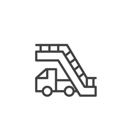 Aircraft stairs outline icon. linear style sign for mobile concept and web design. Airport stairs car simple line vector icon. Symbol, logo illustration. Pixel perfect vector graphics